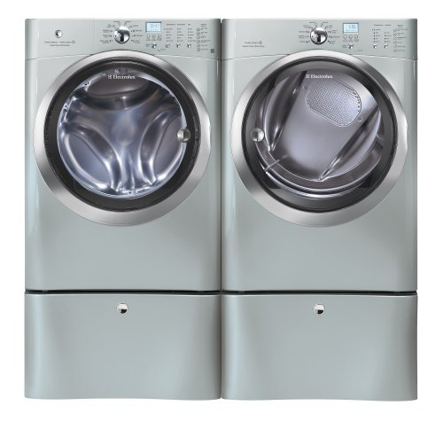 Electrolux Silver IQ Touch Front Load Washer & Steam Electric Dryer Laundry Set With Pedestals EIFLS60LSS_EIMED60LSS_EPWD15SS